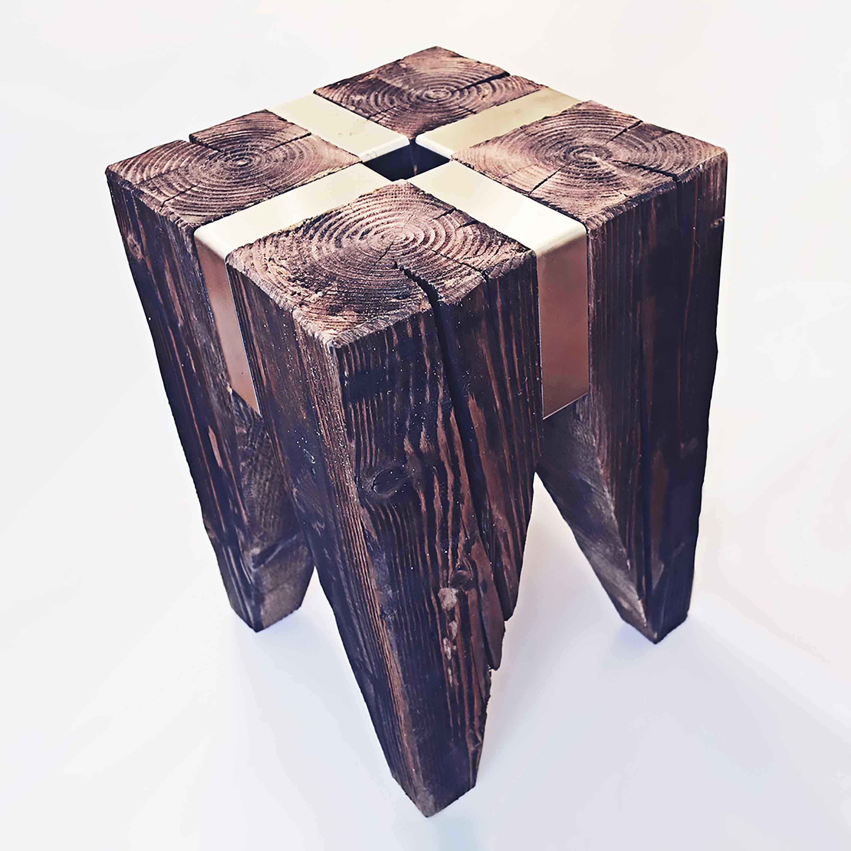 hocker altholz stahl. Black Bedroom Furniture Sets. Home Design Ideas